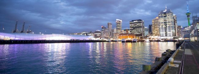 Auckland city and waterfront at night
